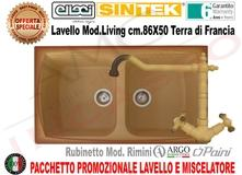 Lavello Cucina 2 Vasche cm.86X50 Living Sintek® S12 Terra di Francia ...