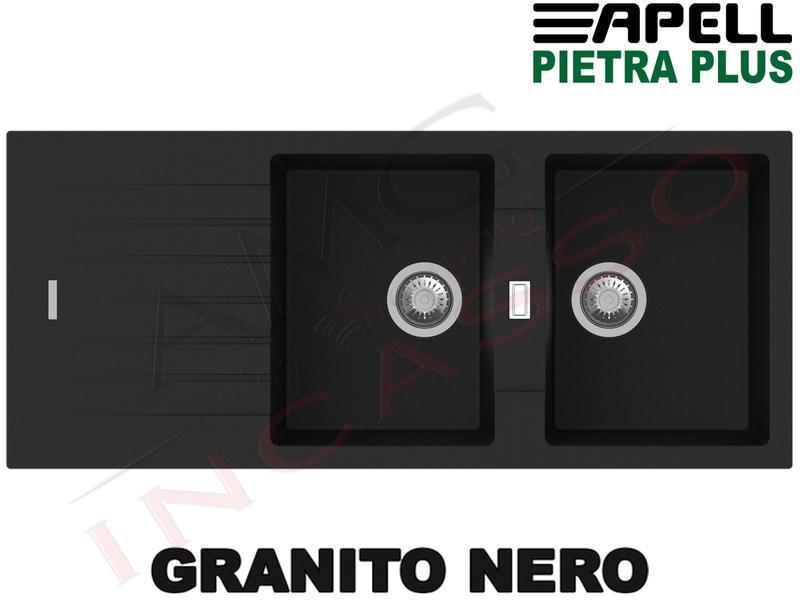 Lavello Cucina New Pietra Plus 2 Vasche cm.116X50 Fragranite Nero