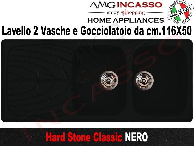 Lavello Cucina Classic 2 Vasche cm.116X50 Fragranite Nero ...