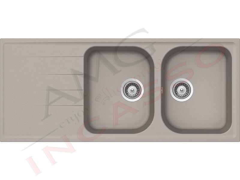 Lavello Cucina 2 Vasche Lithos Cristalite® cm.116x50 Grigio Tortora ...