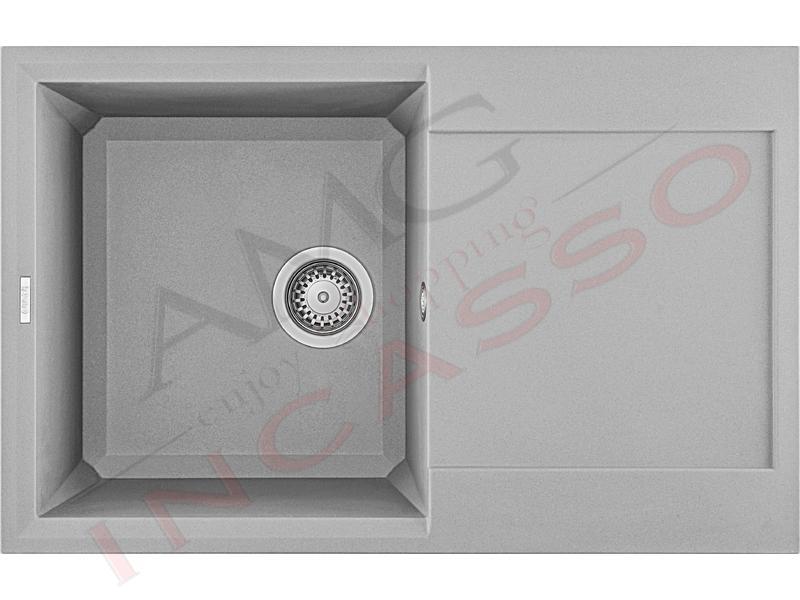 Lavello Cucina 1 Vasca cm.79X50 Easy Metaltek® M73 Titanium   AMG ...
