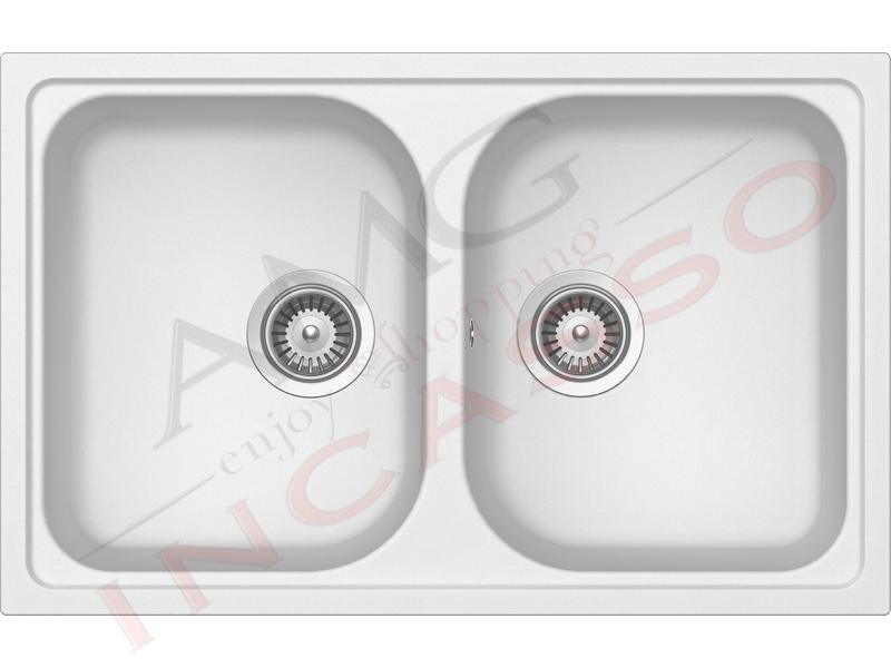 Lavello Cucina 2 Vasche Lithos Cristalite® cm.79x50 Bianco Alpina 07 ...