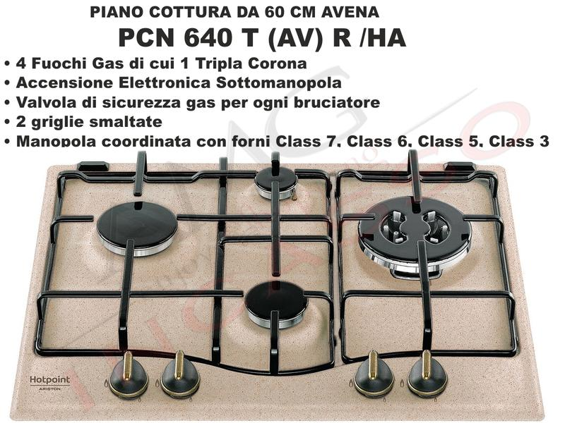 Piano Cottura 60 Hotpoint PCN 640 T (AV) R /HA 4 Fuochi Avena | AMG ...