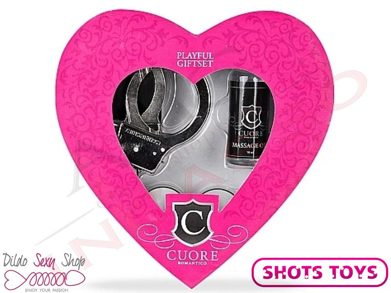 Kit BDSM Cuore Romantico Lubrificante Manette Mascherina Candela Heart Playful
