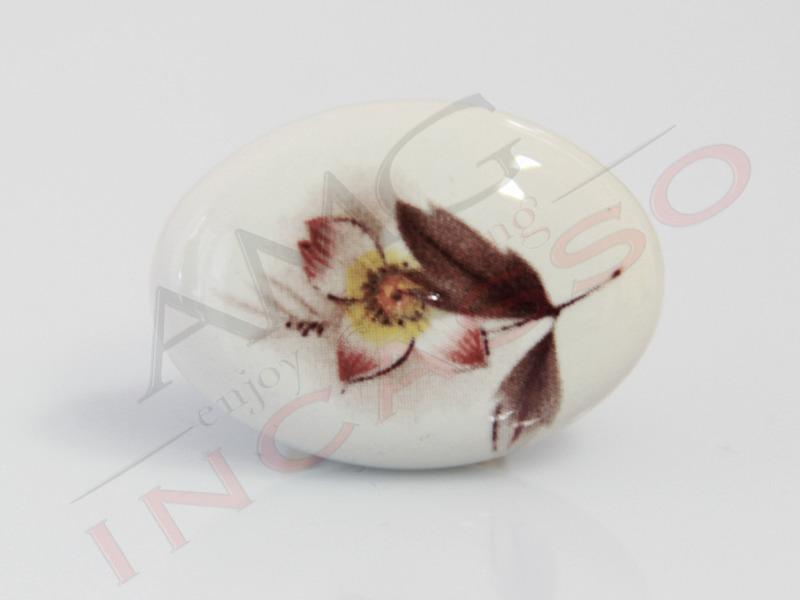 Pomolo Pomello 670-02 Fiore autunnale porcellana ceramica ...