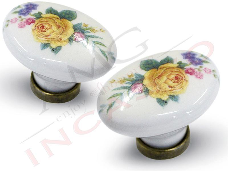 Pomolo Pomello 670-11 Fiore giallo porcellana ceramica ovale ...