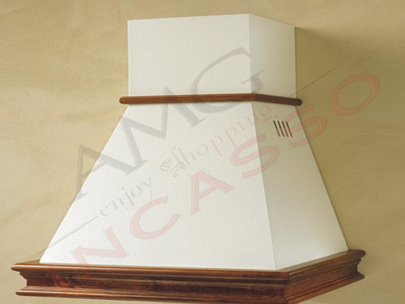 Cappa chiara cm.120 cornice legno grezzo lamiera bianca panna amg