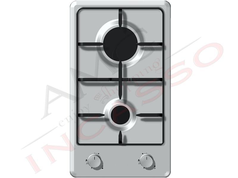 Piano Cottura Cucina Domino 2 Fuochi Gas Cm 30 Acciaio Inox Amg