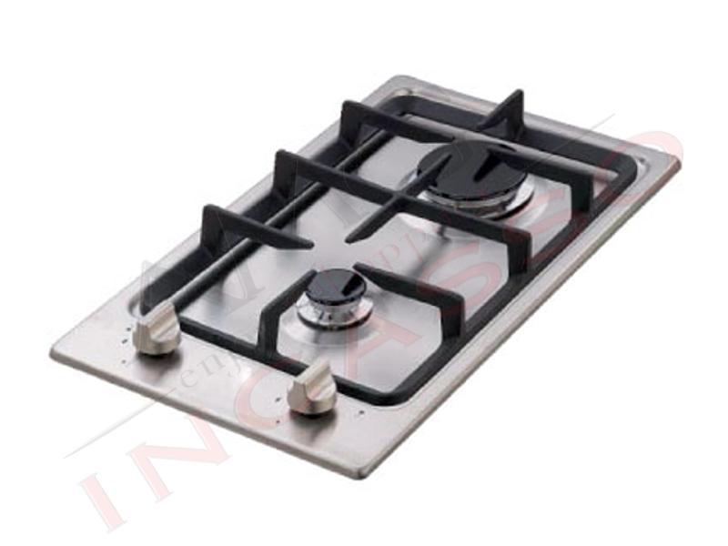 Piano Cottura Cucina Domino 2 Fuochi Gas cm.30 Acciaio Inox Griglie ...
