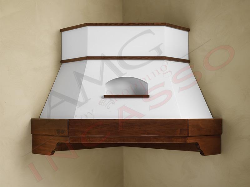 Cappa Desire Angolo G COMPRESA cornice legno grezza cucina rustica ...