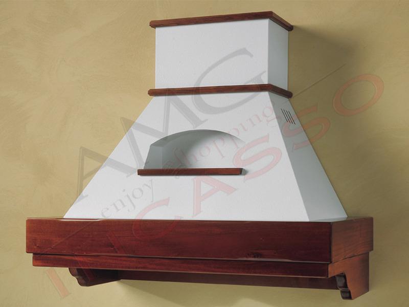 Cappa Desire Cm.120 cornice legno grezzo lamiera bianca/panna   AMG ...