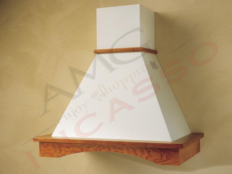Cappa Flora Cm.90 cornice legno grezzo lamiera bianca/panna | AMG ...