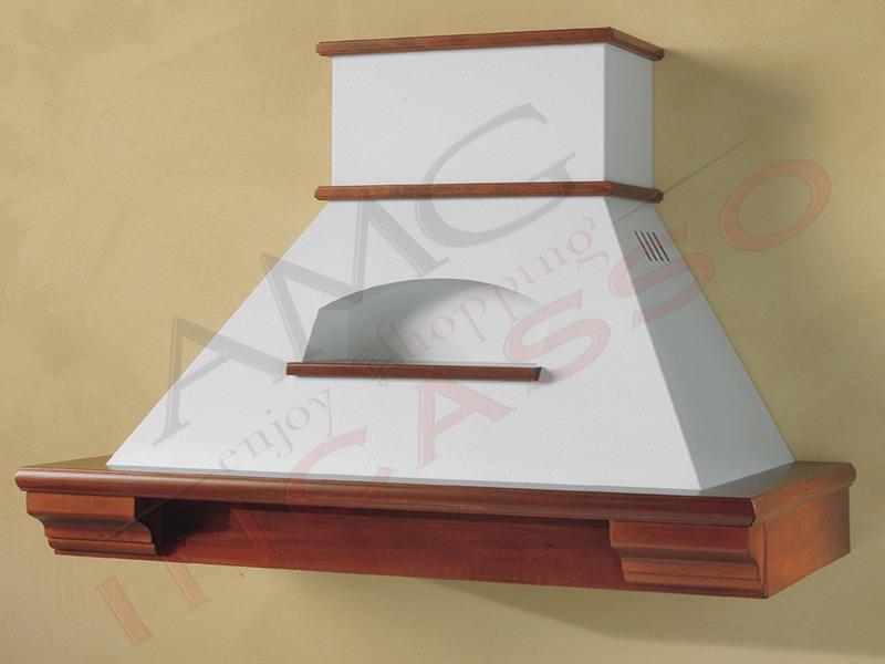 Cappa Ginevra Cm.150 cornice legno verniciata lamiera bianca/panna ...