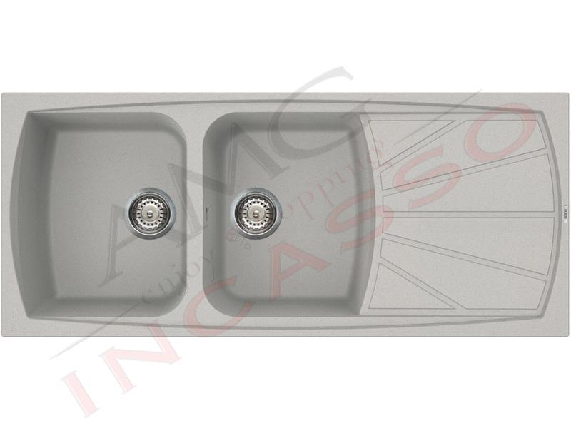 Lavello Cucina 2 Vasche cm.116X50 Living Metaltek® M79 Aluminium