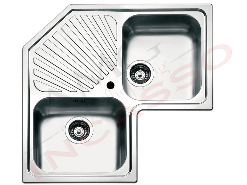 Lavello Cucina Angolo 2 Vasche cm.83X83 Acciaio Inox | AMG incasso ...