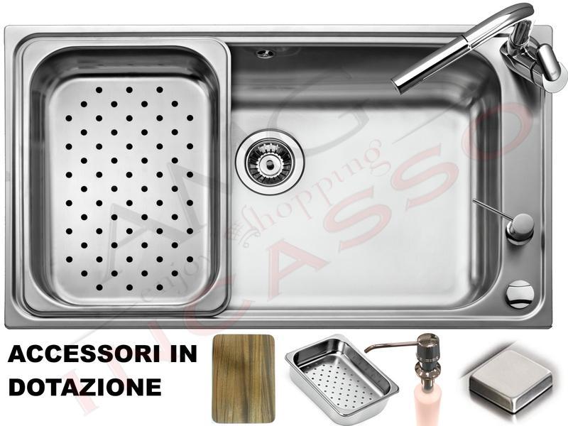 Lavello Cucina Criteria 1 Vasca / Vascone cm.86X50 Acciaio con 4 Accessori