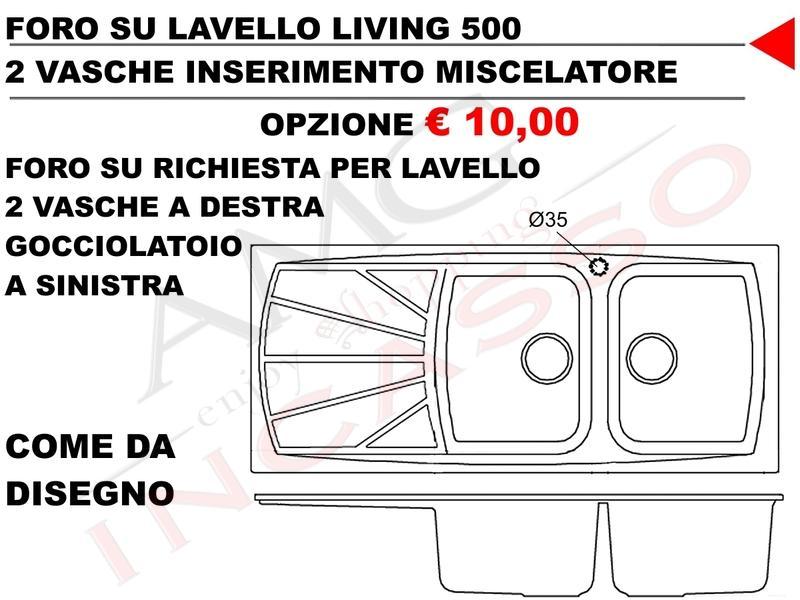 Lavello Incasso Cucina Elleci Living cm.116X50 LGL50062 2 Vasche Bianco Antico