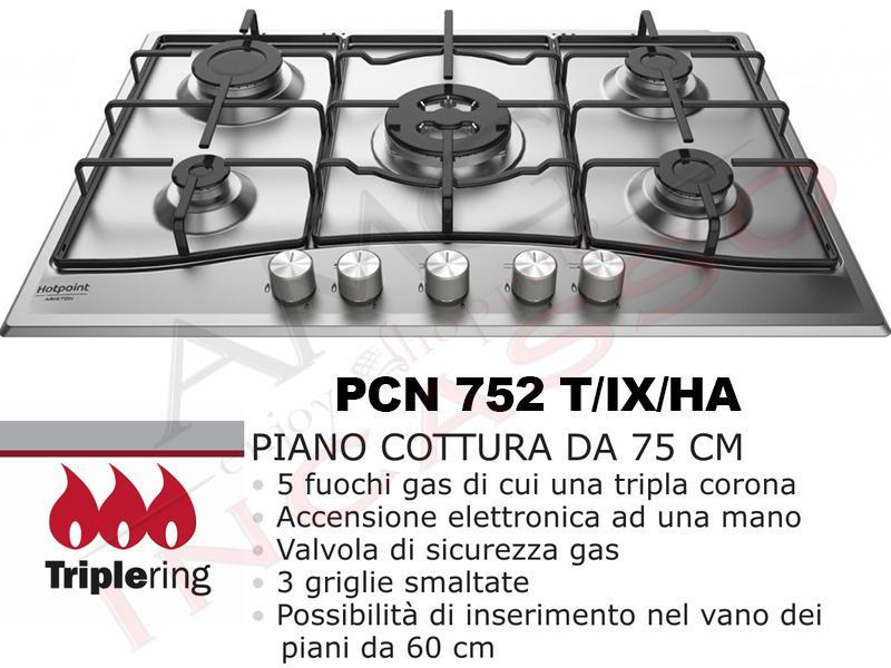 Piano Cottura Cucina 5 Fuochi Gas cm.75 Acciaio Inox   AMG incasso ...