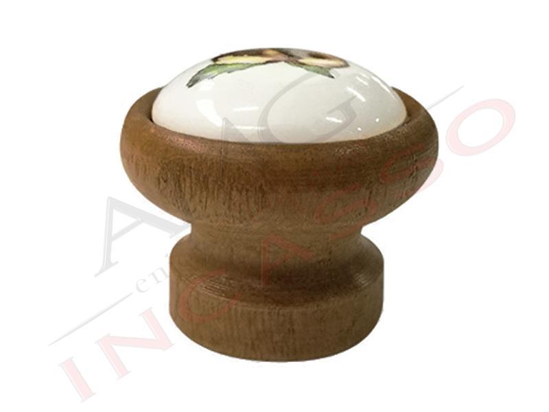 Pomolo Pomello Castagna P09 Legno scuro rotondo inserto porcellana ...