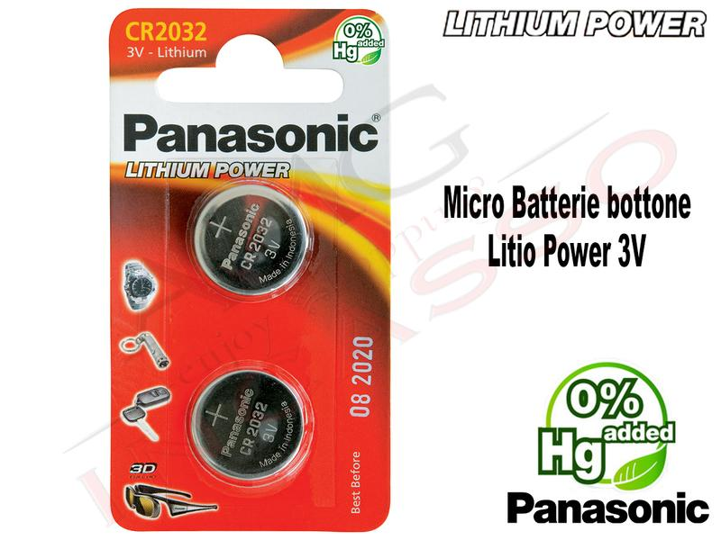 2 Micro Batterie CR-2032EL Bottone 3 V Litio Power Panasonic