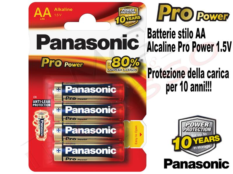 4 Batterie LR6PPG Stilo AA 1,5V Alcalina Pro Power Panasonic