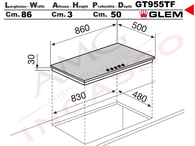 Piano Cottura cm.90 GT955TF 4 Fuochi + 1 Tripla Corona AE/VS Griglie ...