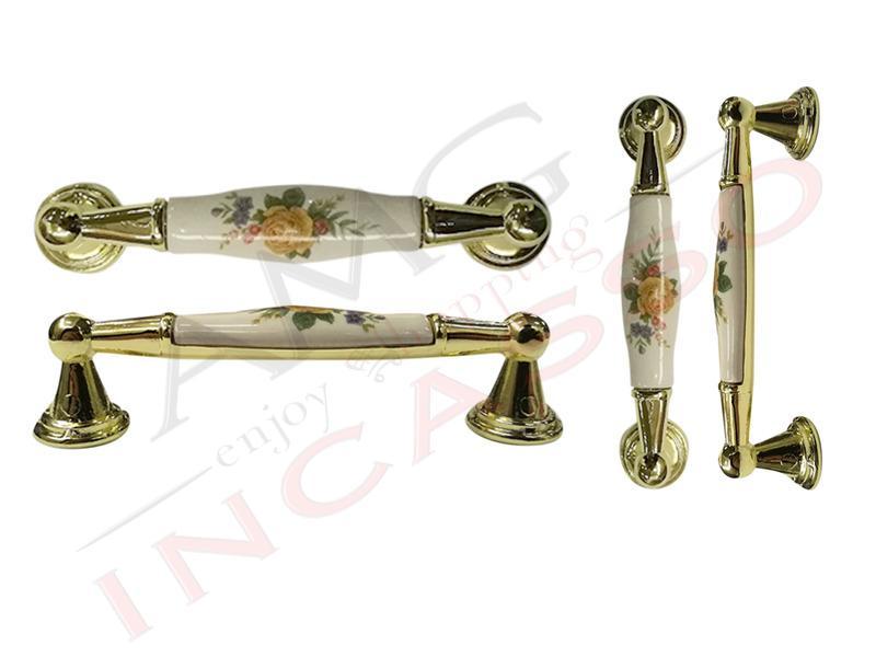 Maniglia Classica ELEONORA M44 ottone lucido - Oro con ceramica ...