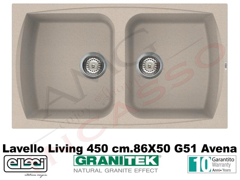 Lavello Cucina 2 Vasche Living Granitek® cm.86X50 G51 Avena ...