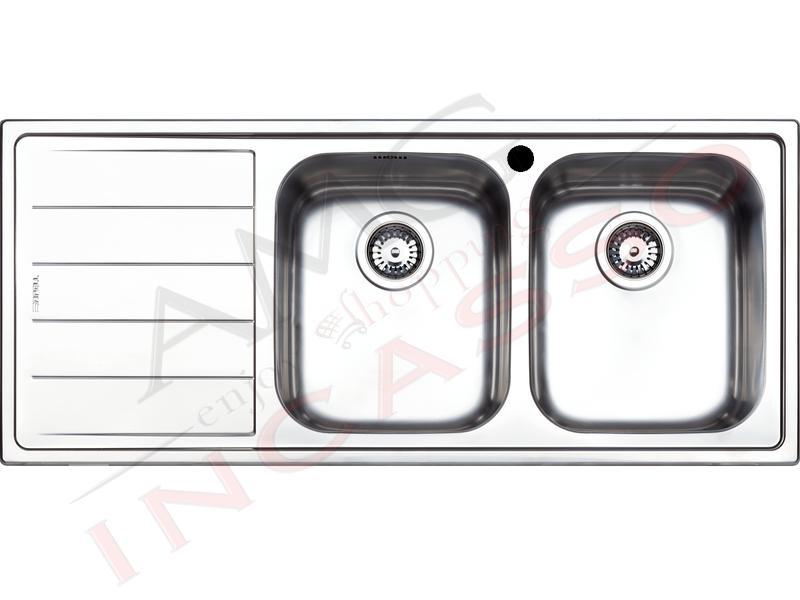 Lavello Cucina Linear 2 Vasche cm.116X50 Acciaio Inox | AMG incasso ...