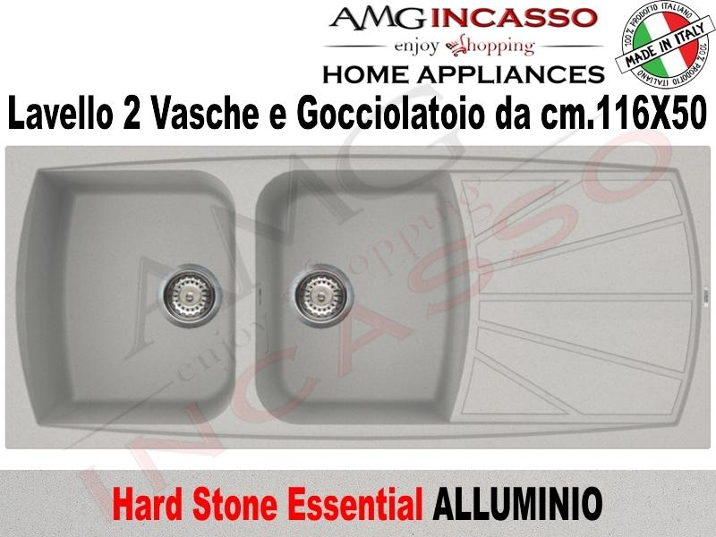 Lavello Cucina Essential 2 Vasche cm.116X50 Fragranite Alluminio ...