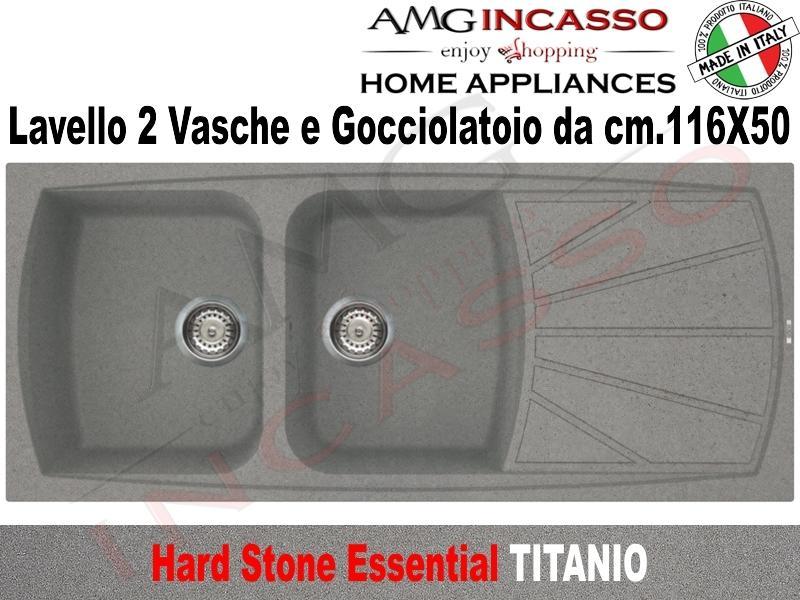 Lavello Cucina 75 Cm.Lavello Cucina Essential 2 Vasche Cm 116x50 Fragranite Titanio Amg