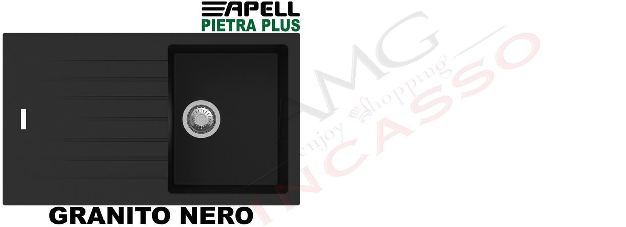 Lavello Cucina New Pietra Plus 1 Vasca cm.86X50 Fragranite Nero